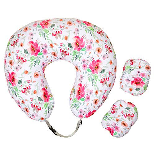 MHJY Nursing Pillow Cover with 2Pcs Moveable Baby Head Positioner Pillow| Minky Infant Feeding Pillow Slipcover with Adjustable Strap for Breastfeeding Moms| Baby Shower Gift