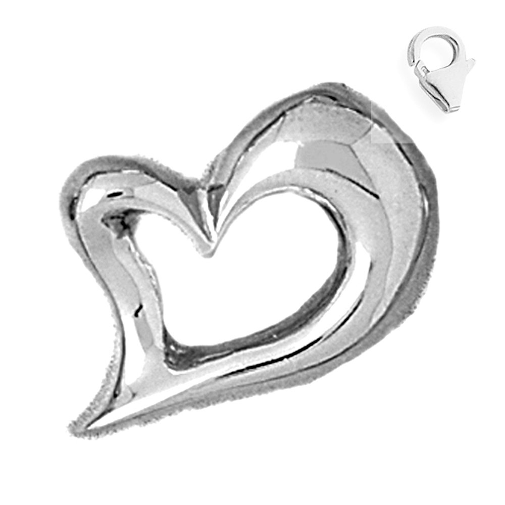 Jewels Obsession Floating Heart Pendant Sterling Silver 19mm Floating Heart with 7.5 Charm Bracelet