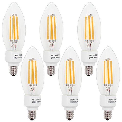 - TORCHSTAR 4W E12 LED Filament Candelabra Bulbs, Soft White 2700K Vintage LED Candle Light, 40W Incandescent Equivalent, 400lm 360° Beam Angle for Chandelier, Wall Sconces, Pendant Lighting, 6 Pack