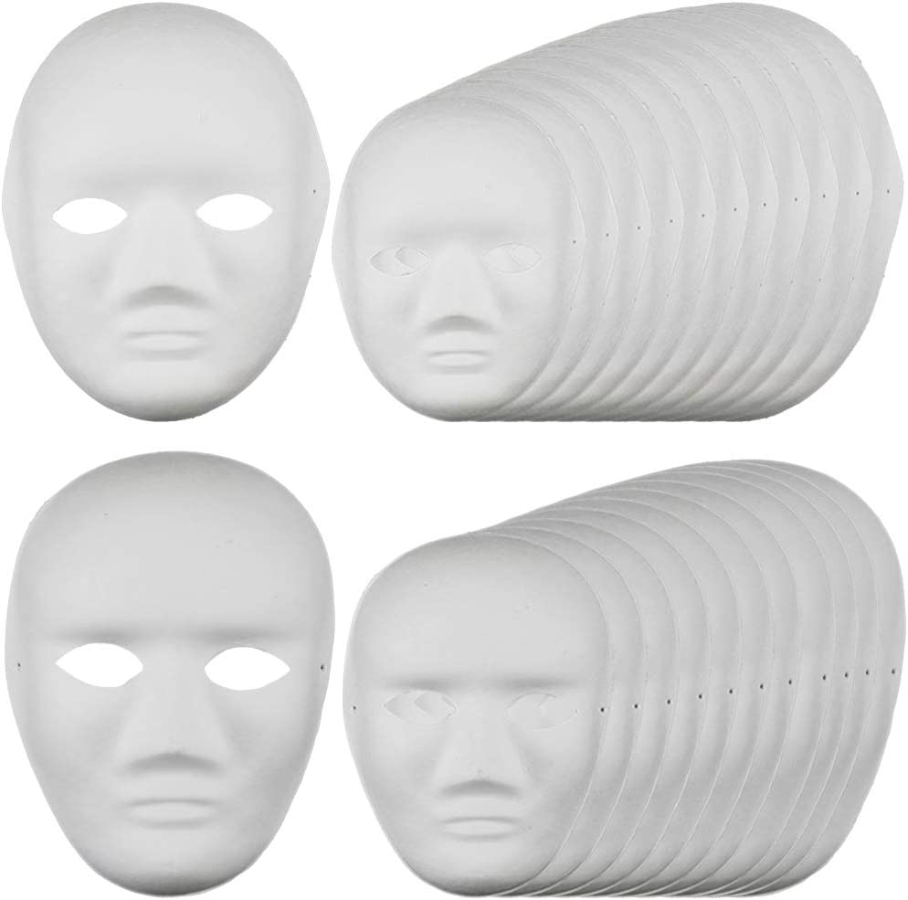 Mornenjoy 24 PCS White DIY Full Face Masks 2 Sizes for Women Party Cosplay Masks Paper Mache Masks for Theater Masquerade Party Decorations Classroom Art Men 24 Opera Masks