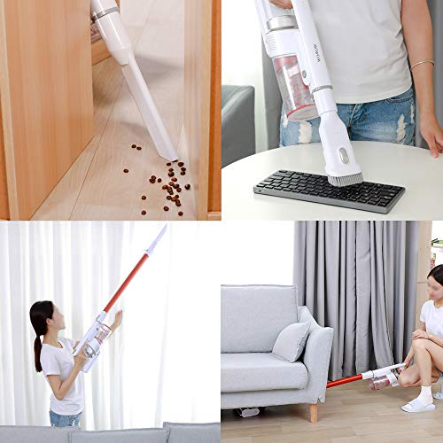 Cordless Vacuum Cleaner, 2.9lb Lightweight Stick Vacuum, Rechargeable Battery Powered Pet Hair Vacuum, Portable 2 in 1 Handheld Vacuum Cleaner for Hard Floor Stairs Car, W5 S (White)