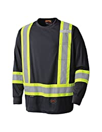 Pioneer Soft Moisture-Wicking Reflective Hi-Vis Long Sleeve Shirt, Premium Birdseye, Black, L, V1051270-L