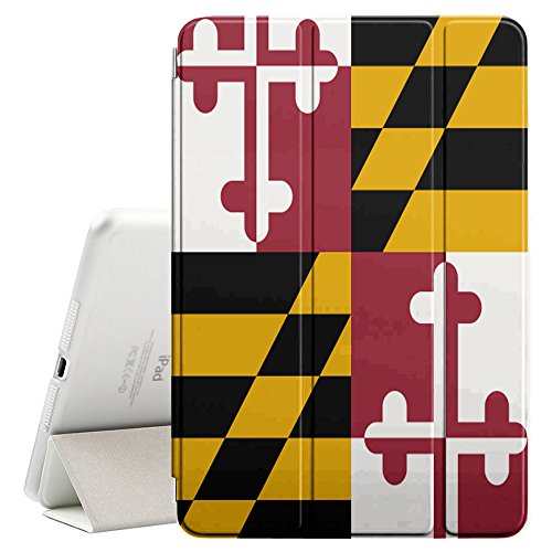 STPlus Maryland, The Old Line State Flag USA United States of America Smart Cover With Back Case + Auto Sleep/Wake Funtion + Stand for Apple iPad Mini 1/2/3