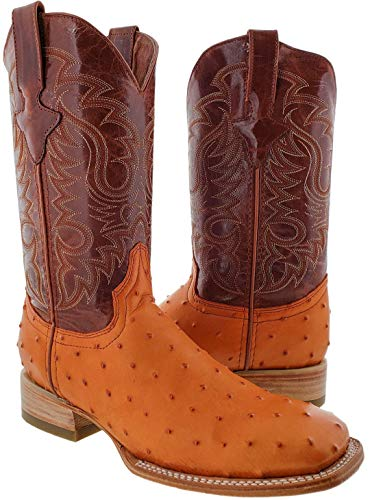 Texas Legacy - Men's Cognac Ostrich Quill Design Leather Cowboy Boots Square Toe 11.5 D(M) -