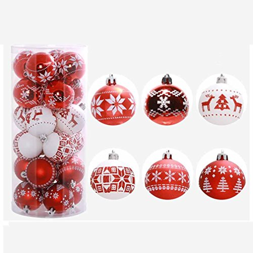 Ikevan 24PC Christmas Tree Xmas Balls Decorations Baubles Party Wedding Ornament (Red) Christmas Wreath Handprints