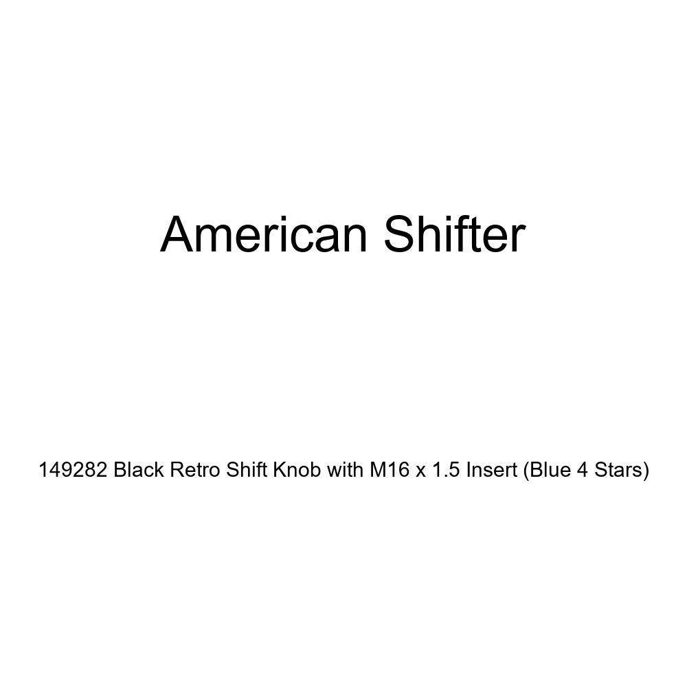 Blue 4 Stars American Shifter 149282 Black Retro Shift Knob with M16 x 1.5 Insert