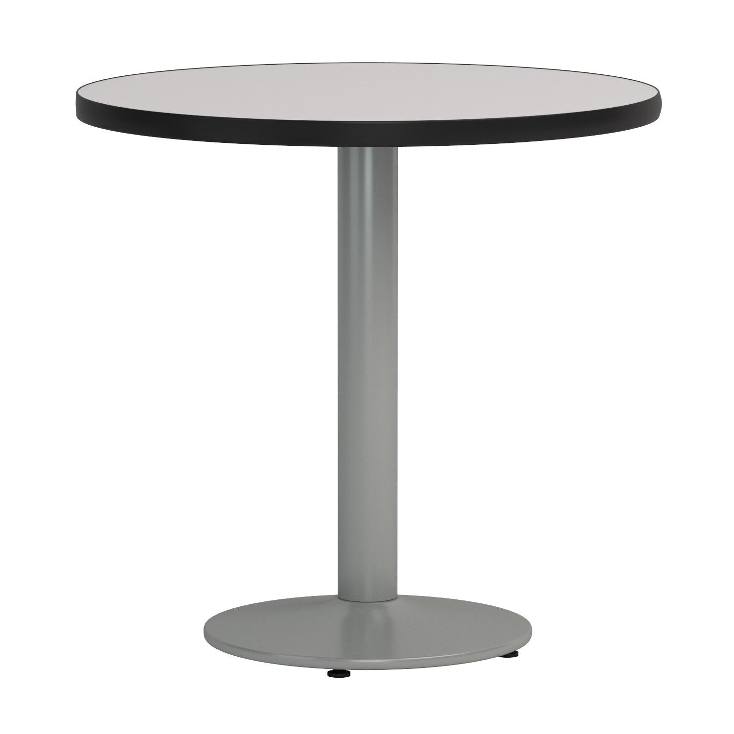 KFI Seating Round Pedestal Table with Round Silver Base, Commercial Grade, 30-Inch, Crisp Linen Laminate, Made in the USA by KFI Seating (Image #2)