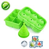 Silicone Ice Cube Trays,Yegu Flexible Novelty Sphere Ice Ball Maker & Large Square Molds with a Funnel for Whiskey Cocktails and Bourbon Keep Drinks Chilled Reusable & BPA Free(Set of 2)-Green