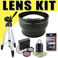 DavisMAX 2X Telephoto Lens with 3 Piece Filter Kit and Tripod Bundle for Canon 58mm Camcorders