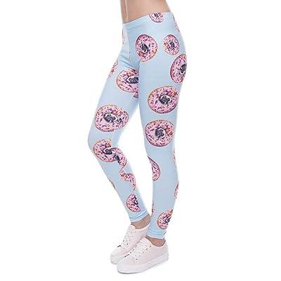 BOLAWOO Pantalones De Yoga Fiesta Mujeres Estilo Polainas Pantalones Donuts con Pugs Imprimir Legging Leggins Azul Camiseta De Alta Elasticidad Legins Pantalones De Mujer: Ropa y accesorios
