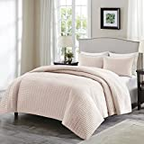 Comfort Spaces - Kienna Quilt Mini Set - 3 Piece - Blush - Stitched Quilt Pattern - Full/Queen size, includes 1 Quilt, 2 Shams