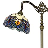 Tiffany Style Reading Floor Lamp Stained Glass Lotus Lampshade in 64 Inch Tall Antique Arched Base for Girlfriend Bedroom Living Room Lighting Table Set S220 WERFACTORY
