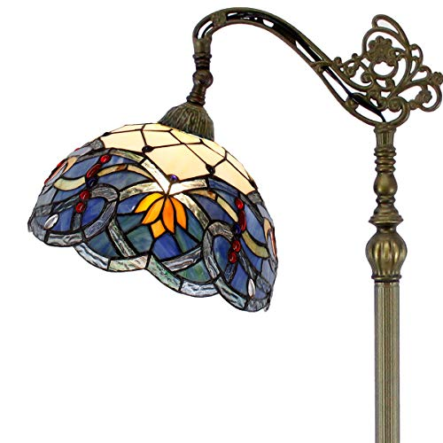 Tiffany Style Reading Floor Lamp Stained Glass Lotus Lampshade in 64 Inch Tall Antique Arched Base for Girlfriend Bedroom Living Room Lighting Table Set S220 WERFACTORY ()