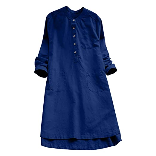 5e2205d7f9323 kaifongfu Large Size Women Dress Retro Long Sleeve Casual Loose Button Shirt  Dress(Blue