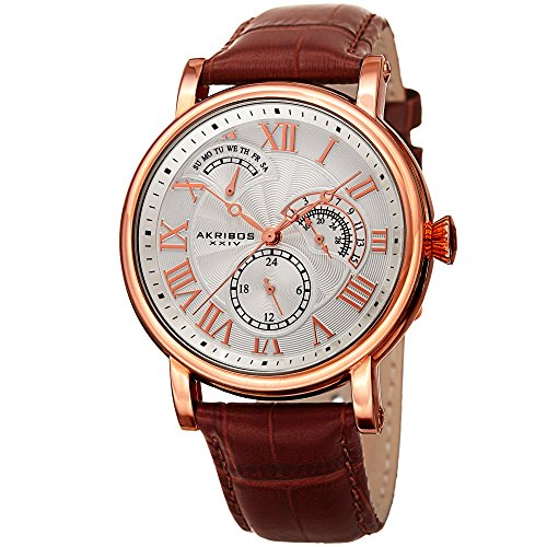 Akribos XXIV Men's Quartz Multifunction Guilloche Pattern Rose-Tone & Brown Leather Strap Watch - AK1003RG