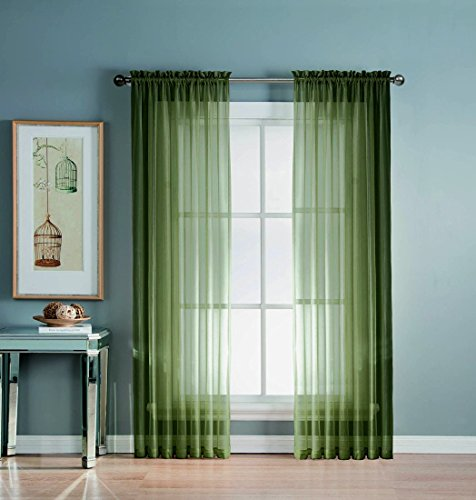 4 Piece OLIVE GREEN Window Curtains product image