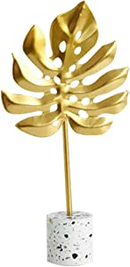 TOYANDONA Metal Palm Leaf Sculpture on Stand A Symbol of Peace and Harmony for Room Decoration Handcrafted Art Sculpture for Living Room Table Home Decoration Gold