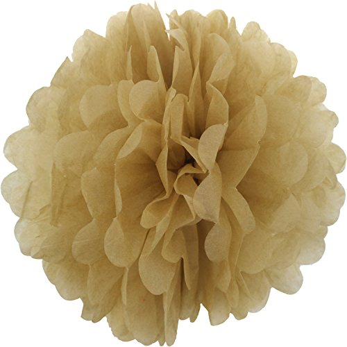 Lightingsky 10pcs DIY Decorative Tissue Paper Pom-poms Flowers Ball Perfect for Party Wedding Home Outdoor Decoration (4-inch Diameter, (Gold Pom Pom)