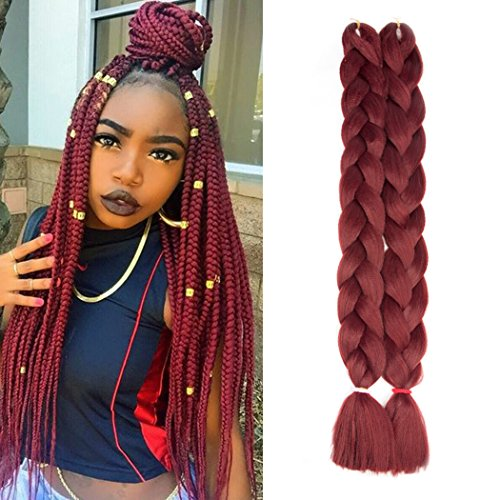 Twist Red Wine - Ayana Jumbo Braid Hair Extensions 82 inch 165g/pcs High Temperature Kanekalon Synthetic Fiber for Twist Braiding Hair (Wine-Red)