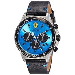 Scuderia Ferrari Homme Chronographe Quartz Montre avec bracelet en Cuir - 830388 15