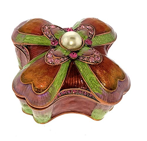 (Kaleidoscope Art Deco Nuveau Classic Jewelry Trinket Box Classic Pink Fuschia Brilliant Colors Pewter Bejeweled Swarovski Crystals Enameled Hinged Collectibles)