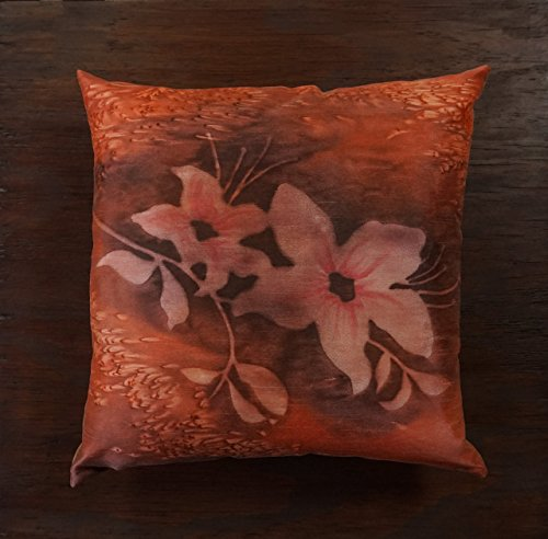 - 18x18 Rust Orange Floral Pillow Cover