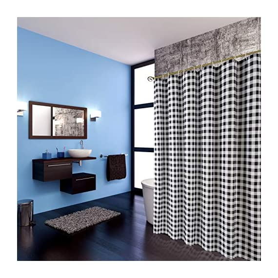 Biscaynebay Textured Fabric Shower Curtains, Printed Checkered Bathroom Curtains, Black and Grey 72 by 72 Inches - Printed polyester fabric is special woven, textured with slubs. Lights can get through partly, providing romantic atmosphere. 100% superior quality and Eco-friendly polyester, long life use. Suitable for families and upscale hotels. Made of 125gsm durable premium polyester fabric. - shower-curtains, bathroom-linens, bathroom - 51s4qpnqZUL. SS570  -