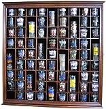71 Shot Glass Rack Wall Display Case Holder Cabinet, Solid Wood (Walnut Finish)
