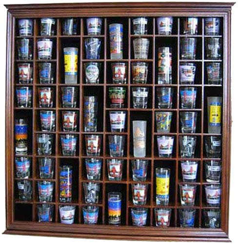 51s4r3DlUJL - 71 Shot Glass Rack Wall Display Case Holder Cabinet, Solid Wood (Walnut Finish)