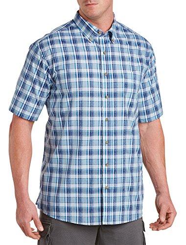 Pocket Plaid Sport Shirt (Harbor Bay by DXL Big and Tall Easy-Care Large Plaid Sport Shirt Blue 3XTALL)