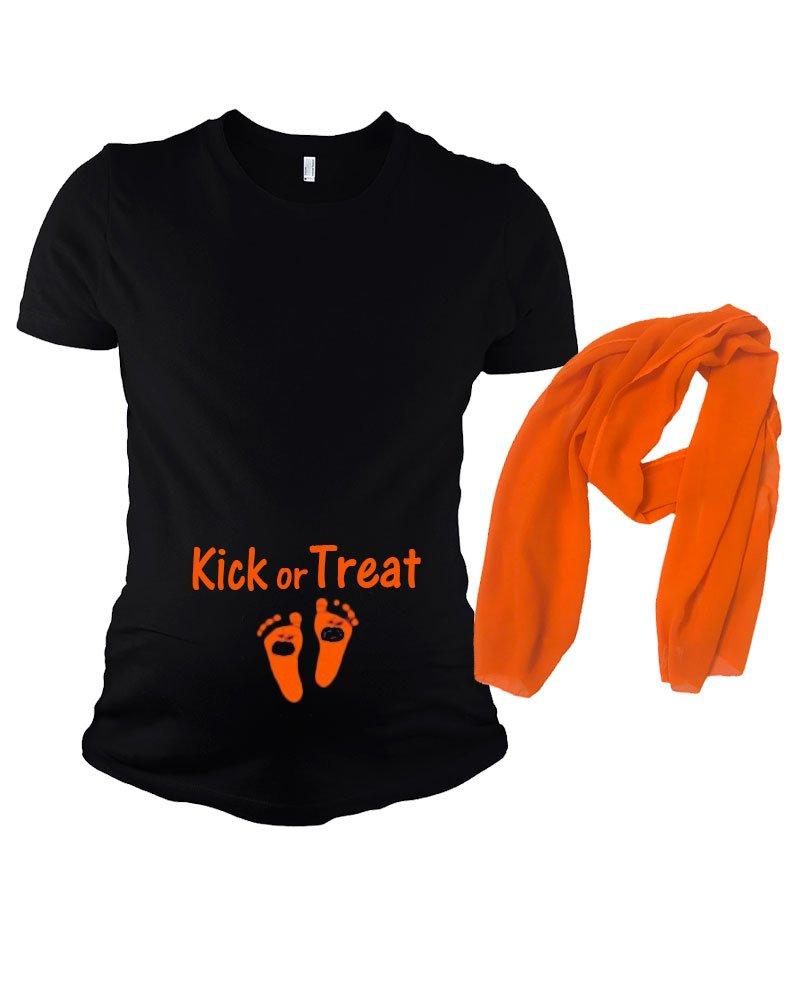 Funny Halloween Pregnancy Tshirt - Kick Or Treat (Large, Black)