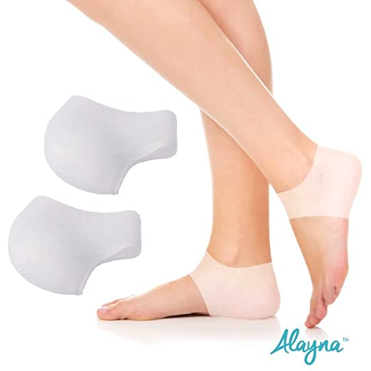 Silicone Gel Heel Protector - Plantar Fasciitis Soft Socks for Hard, Cracked, Dry Skin- One Pair- Moisturizing Protector by Alayna
