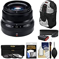 Fujifilm 35mm f/2.0 XF R WR Lens (Black) with 3 Filters + Sling Backpack + Strap Kit for X-A2, X-E2, X-E2s, X-M1, X-T1, X-T10, X-Pro2 Cameras