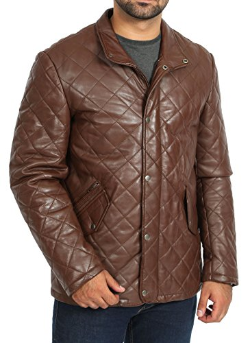 - A1 FASHION GOODS Mens Quilted Leather Jacket Brown Hip Length Fitted Zip up Reefer Car Coat Grover (Small)