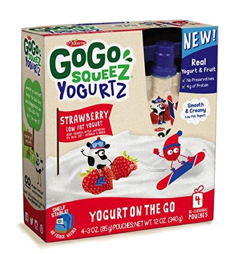 GoGo squeeZ Yogurtz Yogurt, Strawberry, 3 Ounce Pouches, 4 (Yogurt Pouches)