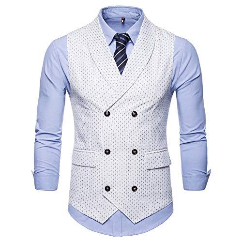 Mens Slim Fit Dress Vest Plaid/Stripes Formal Premium Button Down Vest Mens Vest Waistcoat White]()
