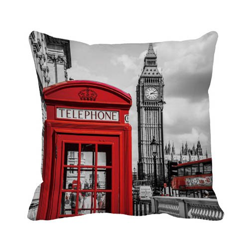 Ailoviu Cotton Canvas London Red Phonebooth and Big Ben Pillow Cover Sofa Throw Cushion Cover Home Decor 18x18 Inches zeroo