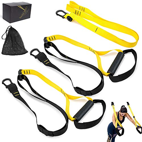 TRJGDCPFC Resistance Straps with Pro Straps for Door Home Gym Equipment System- Core Strength Body Weight Home Fitness Straps