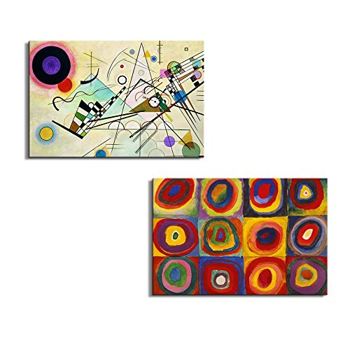 Famous Oil Painting Reproduction Replica Set of 2 Composition VIII Color Study:Squares with Concentric Circles x 2 Panels