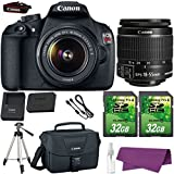 Canon EOS Rebel T5 DSLR Camera with Canon EF-S 18-55mm IS Lens. + 2 Pieces 32GB SD Memory Card + Canon Bag + Cleaning Kit + Tripod