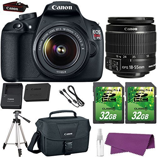 Canon EOS Rebel T5 DSLR Camera with Canon EF-S 18-55mm IS Lens. + 2 Pieces 32GB SD Memory Card + Canon Bag + Cleaning Kit + Tripod (Canon 600mm Ii Lens compare prices)
