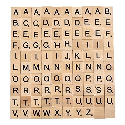 Dominoes Pack (Solid Wood Letter Blocks Scrabble Title Domino Game Alphabet Character Parties Home Decor Pack of 100)