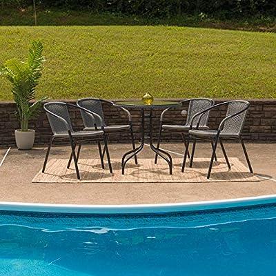 Amazon.com - Flash Furniture 28 Round Glass Metal Table ...