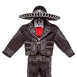 Boys Charro, Boys Cotton Guayabera, Boys Baptism, Charro, Boys, Mexican Wedding Shirt, Guayaberas, Baptism outfit, Mens Charro (4 Year, Black)
