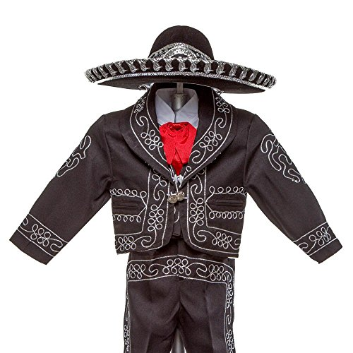 Boys Charro, Boys Cotton Guayabera, Boys Baptism, Charro, Boys, Mexican Wedding Shirt, Guayaberas, Baptism outfit, Mens Charro (4 Year, Black) by Details and Traditions