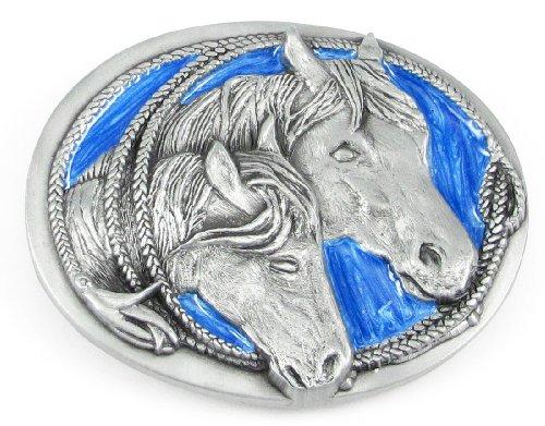 Pewter Belt Buckle - Two Horses Heads in Lasso - Pewter Belt ()