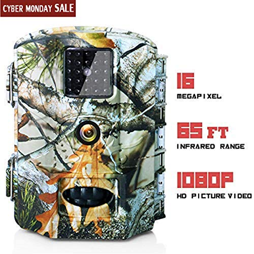 Olymbros Trail Game Camera 16MP 1080P HD IP65 with Night Vision Motion Activated 110° 20m Detection Range Hunting Scouting Cam Trigger Time 0.6s Wildlife Monitoring with 2.4