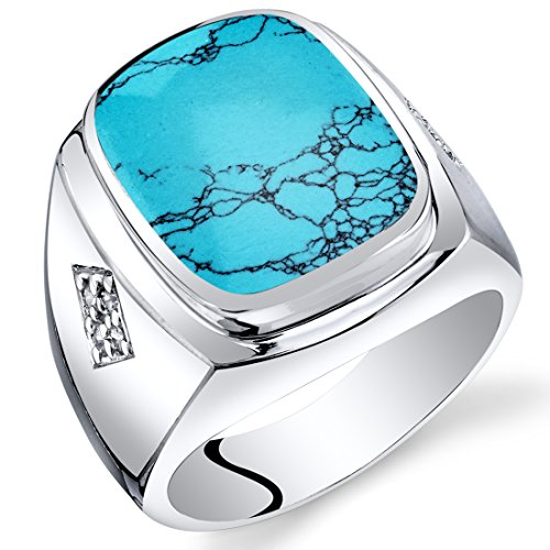 Peora Mens Cushion Cut Simulated Turquoise Knight Ring Sterling Silver Size 10