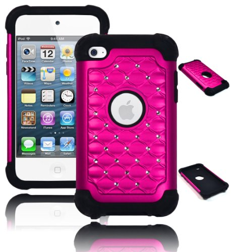 Bastex Heavy Duty Hybrid Case for Touch 4, 4th Generation iPod - Black Silicone with Hot Pink Diamond Crystal