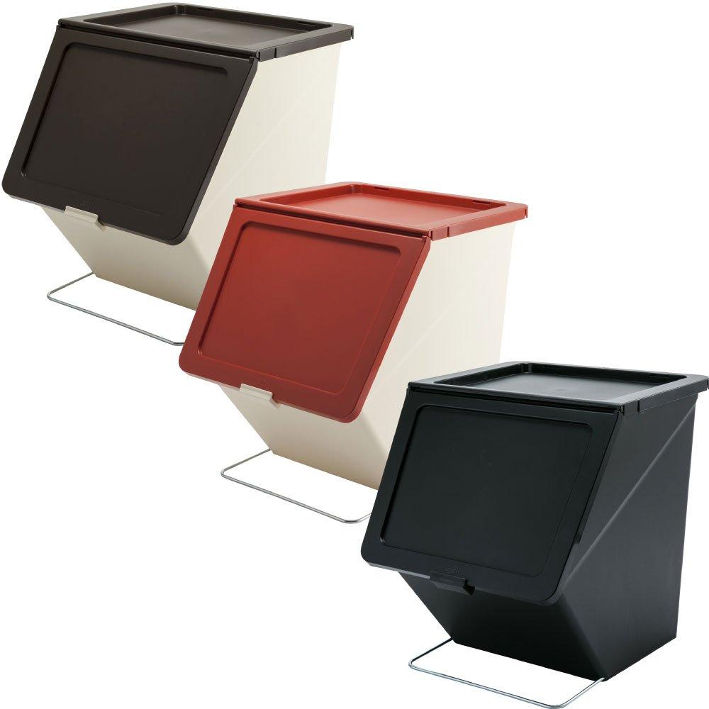 スタックストー ペリカン ガービー 38L 全6色の中から選べる3個セット ゴミ箱 ごみ箱 ダストボックス おしゃれ ふた付き stacksto pelican (ブラウン×レッド×ブラック) B07595TQ7P ブラウン×レッド×ブラック ブラウン×レッド×ブラック